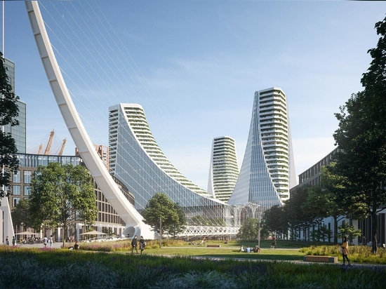 Santiago Calatrava has conceived the huge, multi-faceted Peninsula Place in Greenwich, London