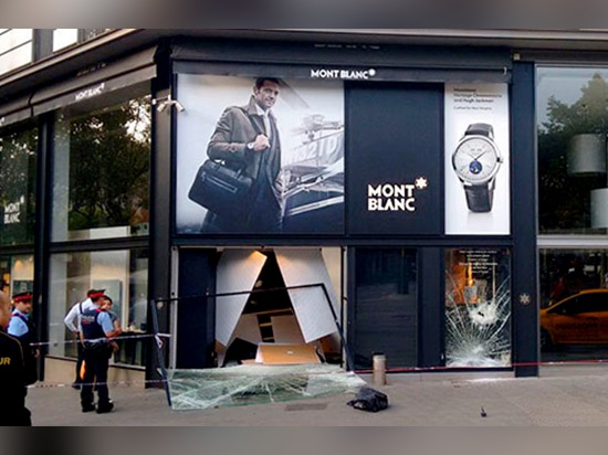 Ram raid in Montblanc jewellery shop.
