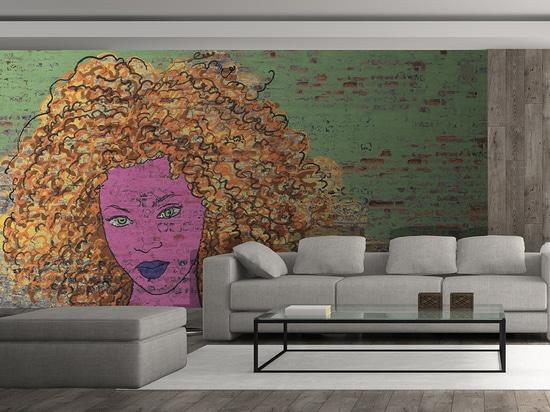 Afro graff sur briques vertes
