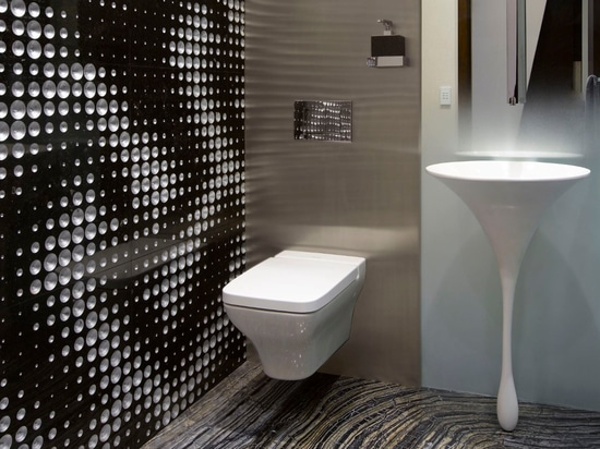 """The """"James Bond Powder Room"""" project by ODP Architecture and design with our """"luxury 2"""" wall covering"""