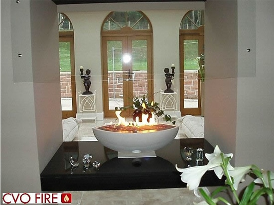 Large Oval White Gas Firebowl Private Residence