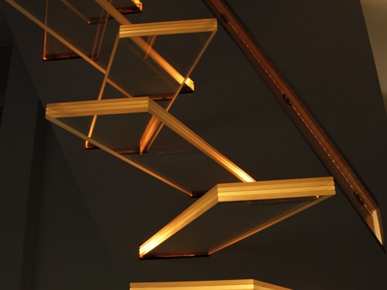 An original cantilever lighting glass staircases