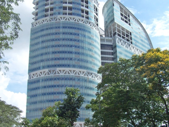 The three Fusionopolis towers are connected by skybridges.