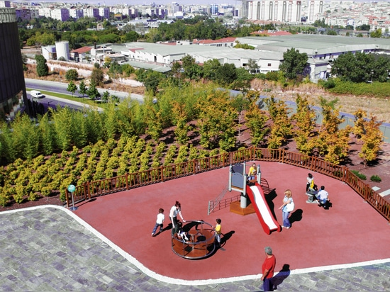 View from one of the roofs to the playground.