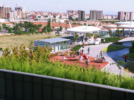 The green roof of the Marmara Forum Shopping  Mall & Offices with the different species.
