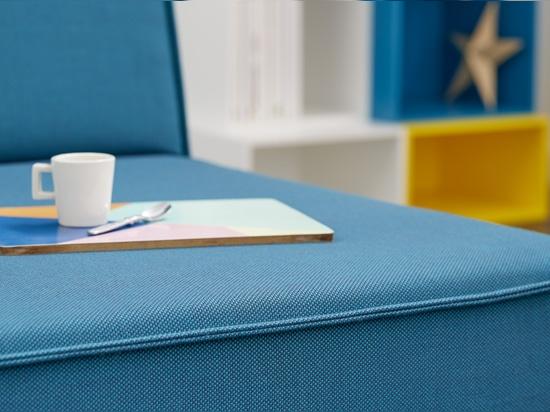 Sofa with blue sofa cover