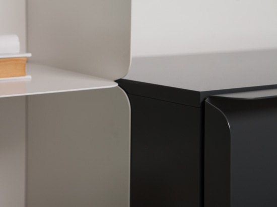 Detail view of a Collar bookcase and cabinet front