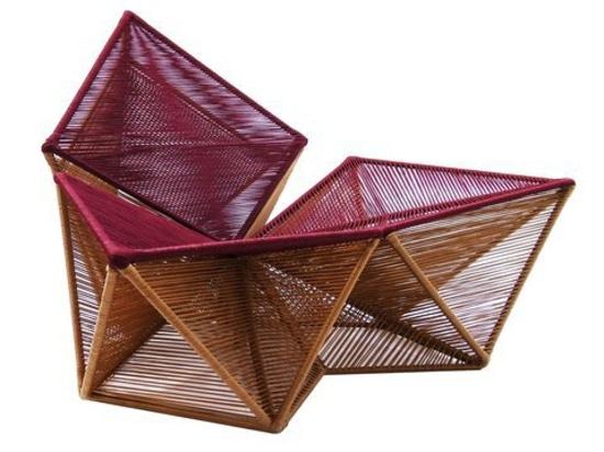 Armchair Balão by Sérgio J. Matos. Balão has an amazing upholstery weaved using lashing techiniques.