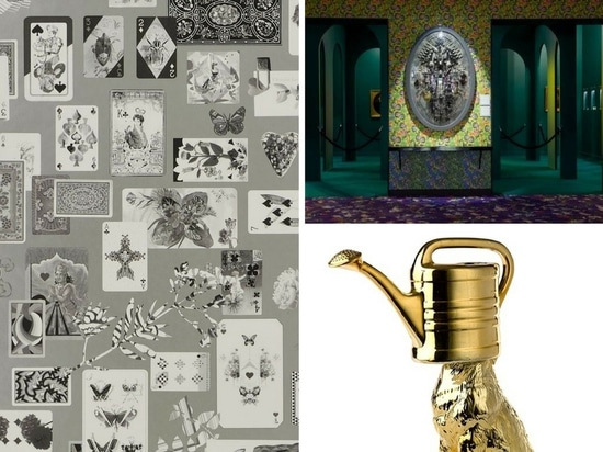 Maison de Jeu wallpaper by Christian Lacrois for Designers Guild (left), Medaillon XXI Battle of Life by Corina Wagenaar (top right) and Wolf watering can in gold by Pols Pattern.