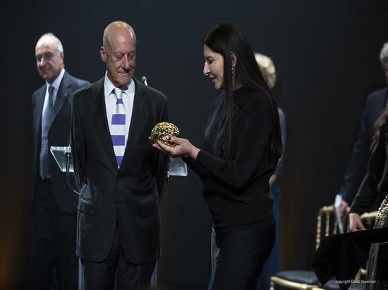 The Scopus award for Norman Foster, designed by performance artist Marina Ambramovic