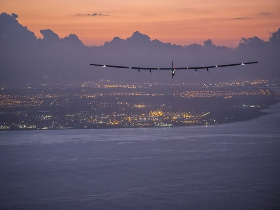 Hawaii, United States of America, June 28, 2015: Solar Impusle 2 lands in Hawaii with André Borschberg at the controls.