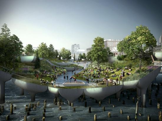 Heatherwick's Pier 55 to begin construction over New York's Hudson River
