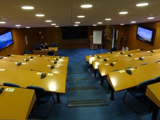 The virtual window in a windowless meeting room
