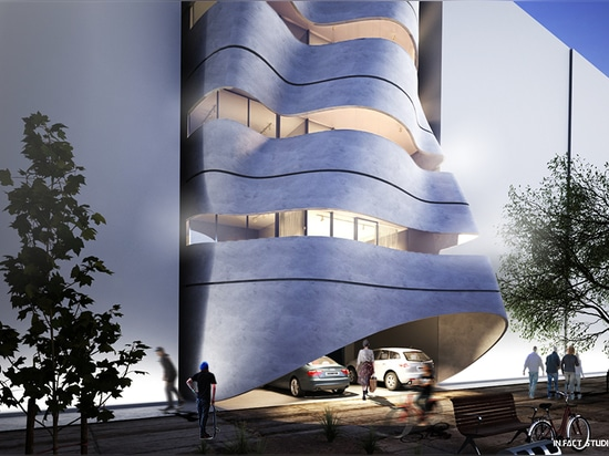 infact studio challenges new delhi's residential landscape with a lightweight curved façade