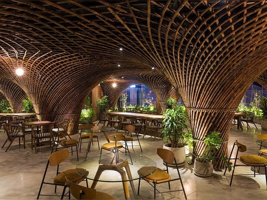 bamboo club + cafe by VTN architects takes center stage in the heart of vietnam