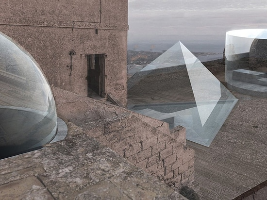 opposite office proposes to transform historic sicilian castle with geometric additions