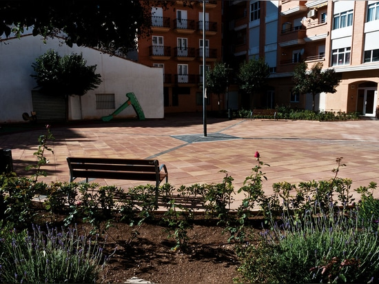 Square and pool with the Goya tile
