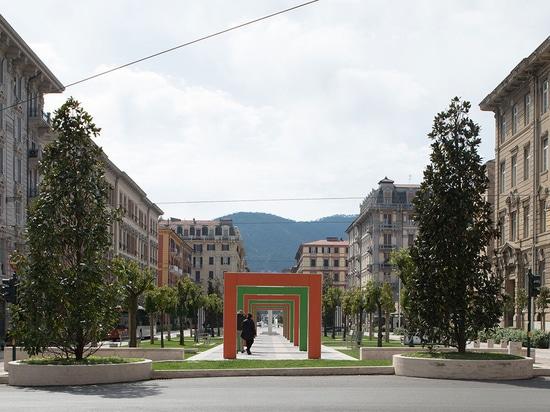 Verdi Square with light travertine