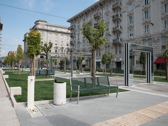 Clear travertine and Scabas on Verdi square