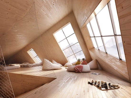 Due to the home's angled position, the rooms have slanted ceilings and unusual angles.