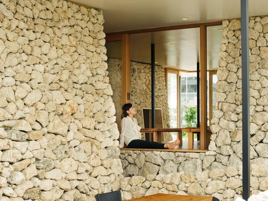 Stacks of Ryukyu Limestone Cover This Restaurant In Okinawa