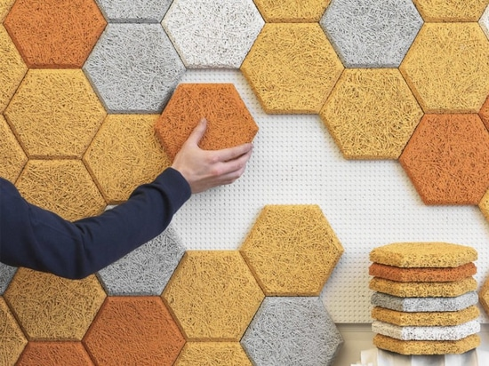 "These colorful hexagonal wall tiles are made from sound-absorbing ""wood wool"""