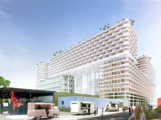 BIG weaves green roofs into a mixed-use development on stilts in Miami