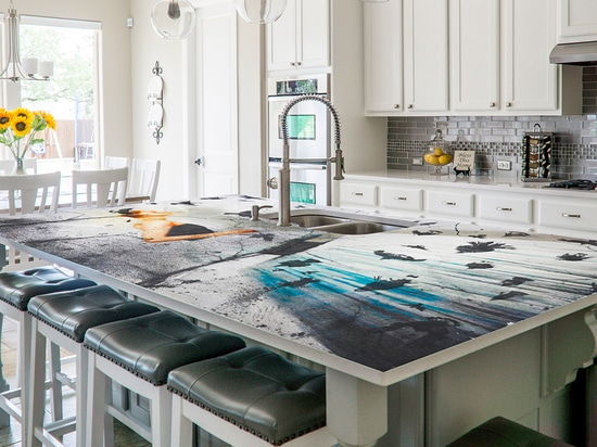 Kitchen in a private home with customized kitchen worktop prestige