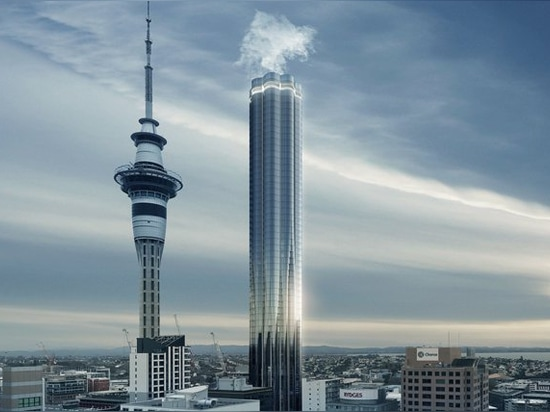 this tower in auckland steams like a volcano, by elenberg fraser