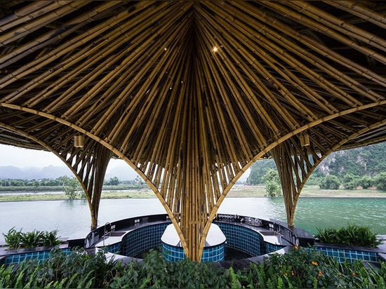 bamboo restaurant and bar in vietnam are shaped like conical hats