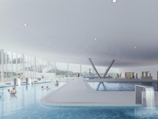 mecanoo + metaform's sunken sports complex in luxembourg will include timber velodrome