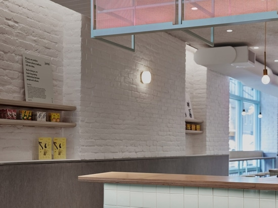 """New York restaurant Junzi Kitchen is coloured to evoke """"early spring in Northern China"""""""