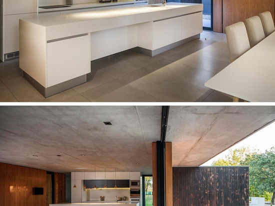 The Bottom Floor Of This Concrete And Wood House Is Almost Completely Open To The Outside
