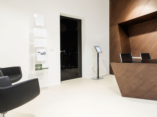 Black lacquered glossy doors for sophisticated work place