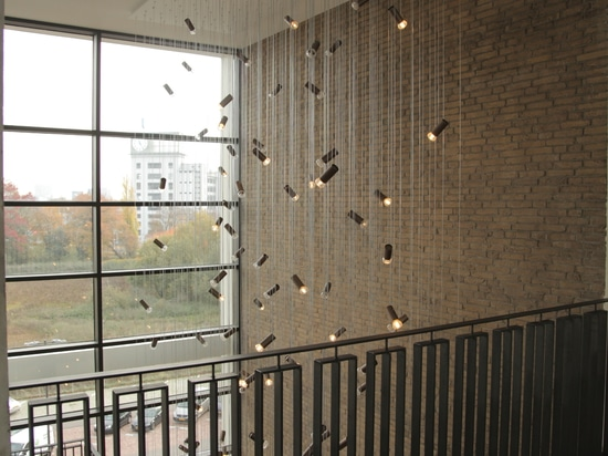 Custom Jewels light installation in newly rebuild TQ building, Eindhoven, the Netherlands
