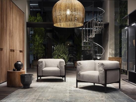 Taiki armchair by Chiara Andreatti; Seryasse Wardrobe by David Lopez Quincoces; Selecta modular system