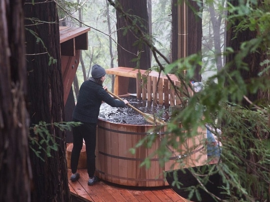 timber cabin with network of decks suspended among the california redwoods
