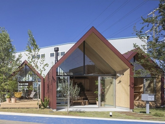 mount fuji architects studio uses CLT wood for prefab housing in japan