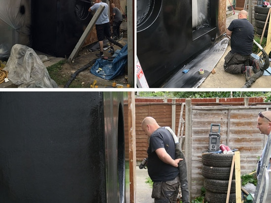 Black Rubber Covers The Extension On This House In London