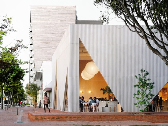 Triangular Cutouts Allow People On The Street To See Inside This New Restaurant In Colombia