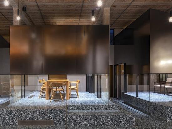 linehouse stacks stainless steel teahouses on green terrazzo in shanghai