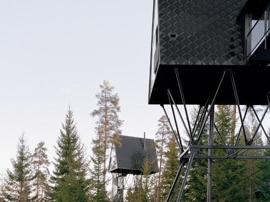 Espen Surnevik elevates pair of treetop cabins on stilts in Norwegian forest
