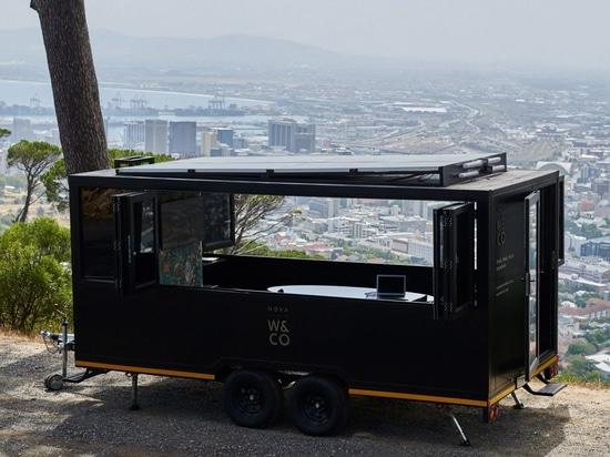 The Nova pod is a solar-powered co-working office on wheels