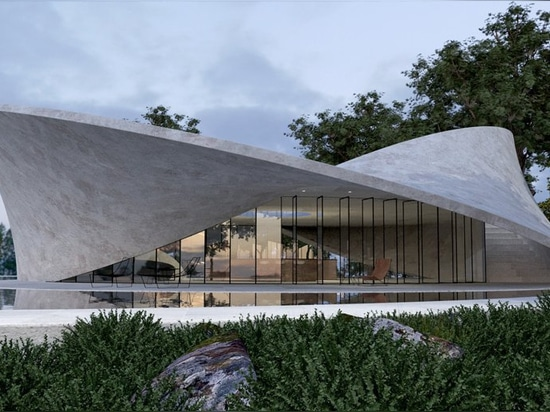antony gibbon translates mobius strip surface into sculptural concrete house