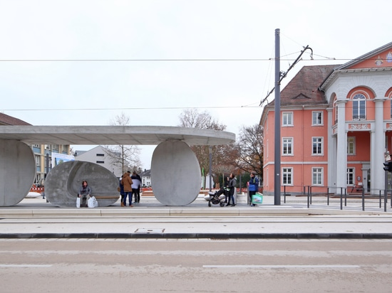 J Mayer H creates international tram stop from stack of concrete discs