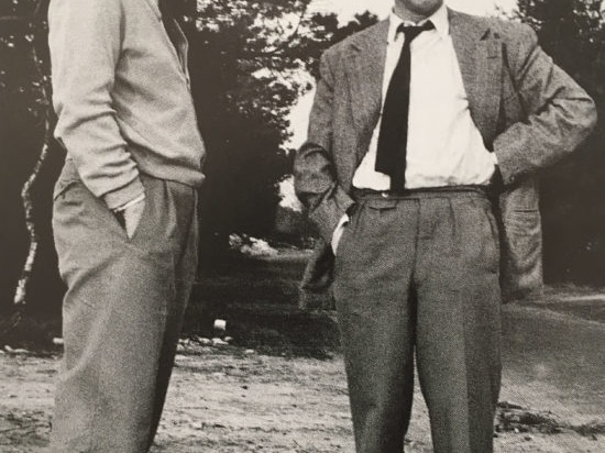 Fritz Hahne (on the right) at the site of the future branch in Espelkamp, 1954.