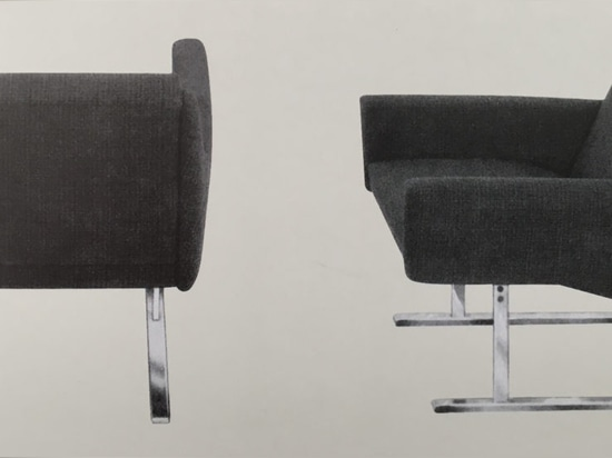 Georg Leowald's Flexor chair, 1954. The exceptional comfort was due to the torsion spring made of fibreglass rods, which was positioned underneath the seat and a total sensation in the upholstered ...