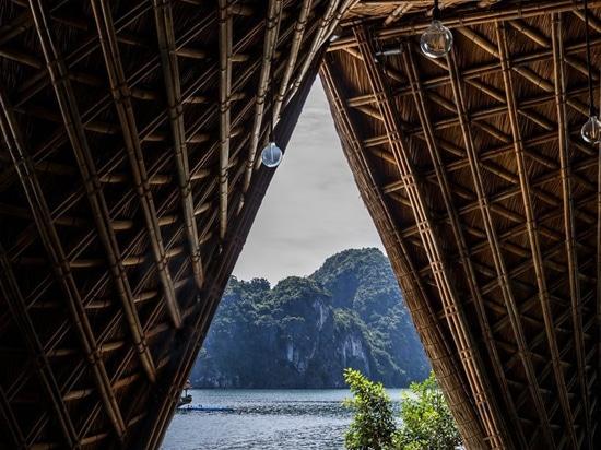 VTN architects' bamboo 'castaway island' resort gently occupies a vietnamese island shore