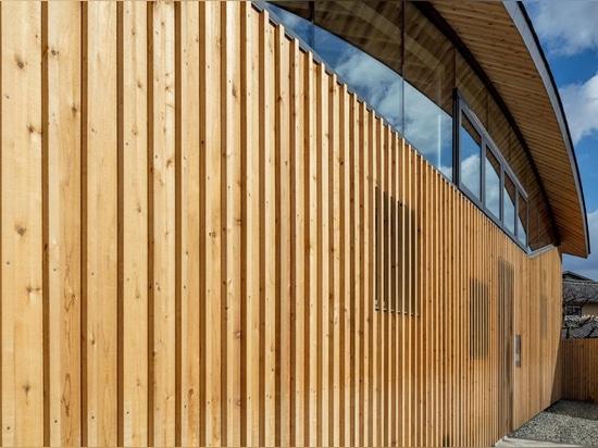curved wood lattice roof hangs above nasca's blue sky nursery school in japan