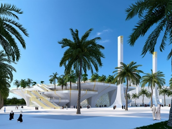Luca Beltrame proposes a mosque inspired by an oasis for Dubai Creek Harbour